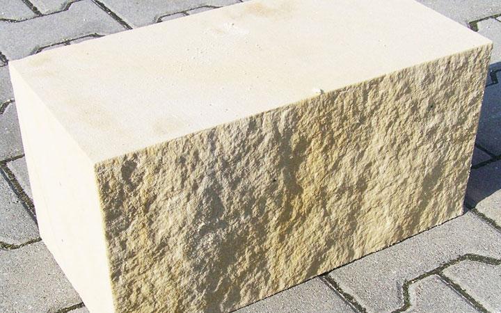 Sandstein-Mauerstein 4-fach gesägt 20 x 20 x 40 cm